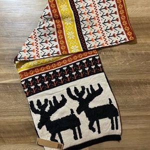 Women's reindeer cozy winter scarf